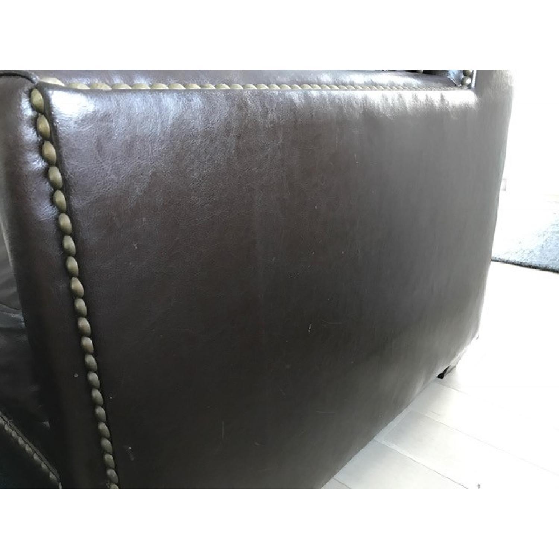 Horchow Leather Sleeper Sofa w/ Nailheads - image-5