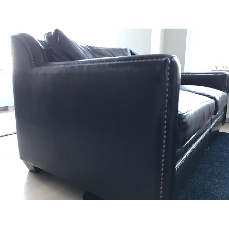 Horchow Leather Sleeper Sofa w/ Nailheads - image-6