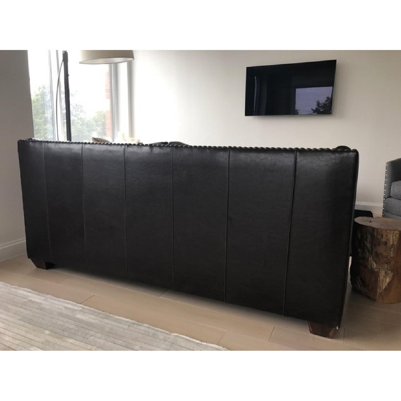 Horchow Leather Sleeper Sofa w/ Nailheads - image-7