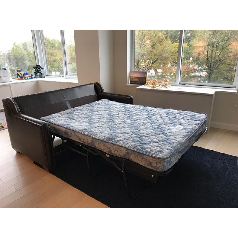 Horchow Leather Sleeper Sofa w/ Nailheads - image-8