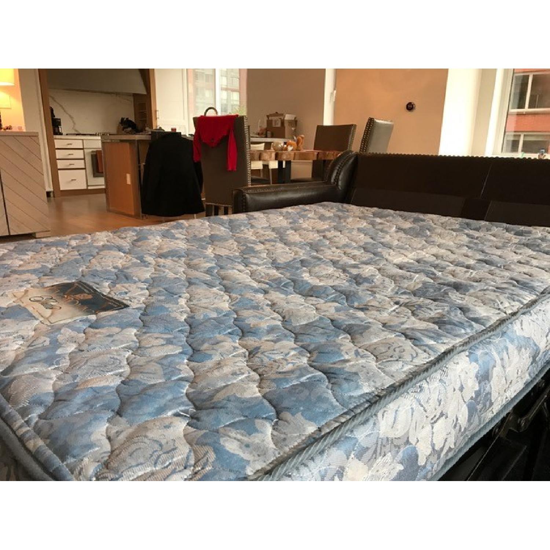 Horchow Leather Sleeper Sofa w/ Nailheads - image-11