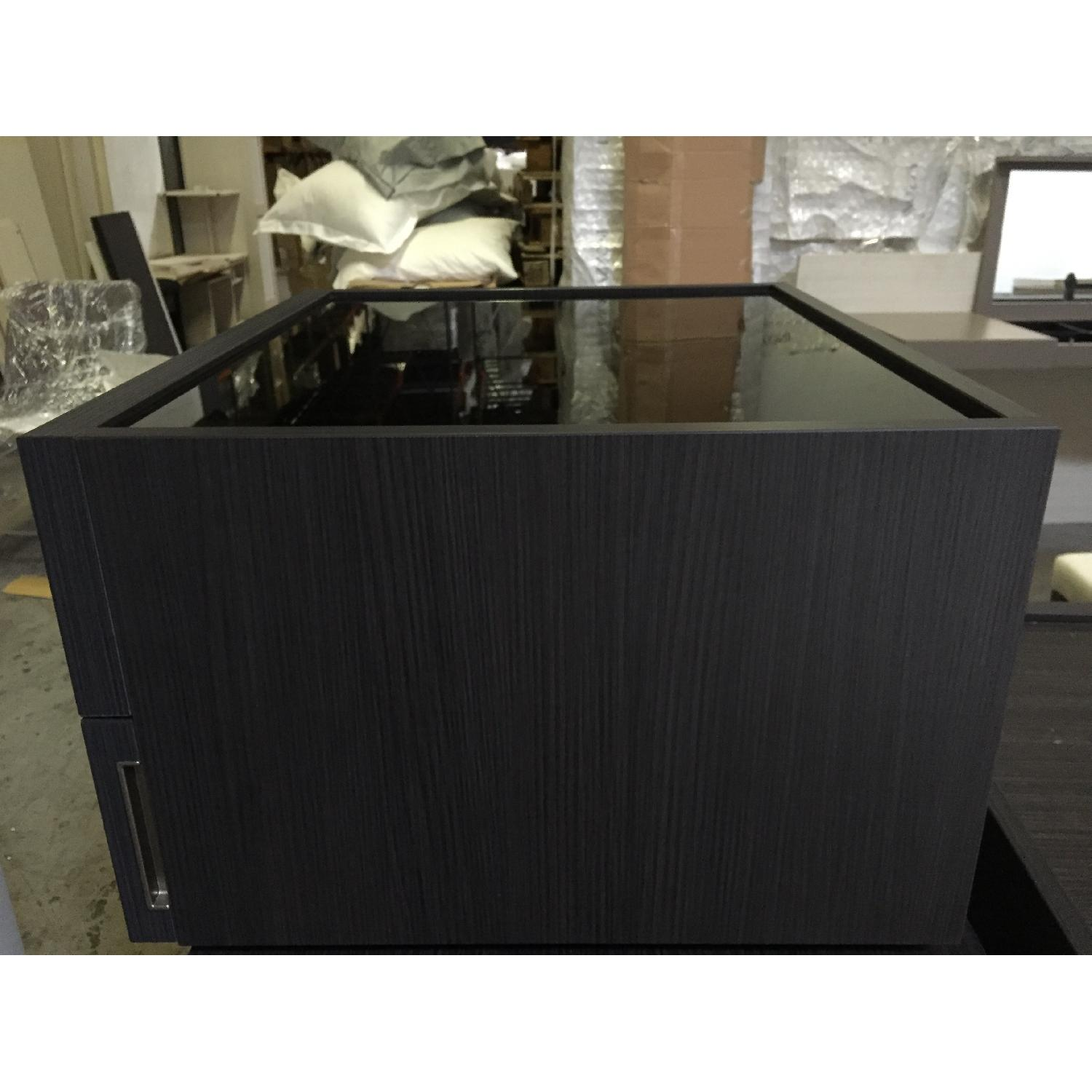 Lazzoni Black Glasstop Smoke Wood Nightstand - image-7