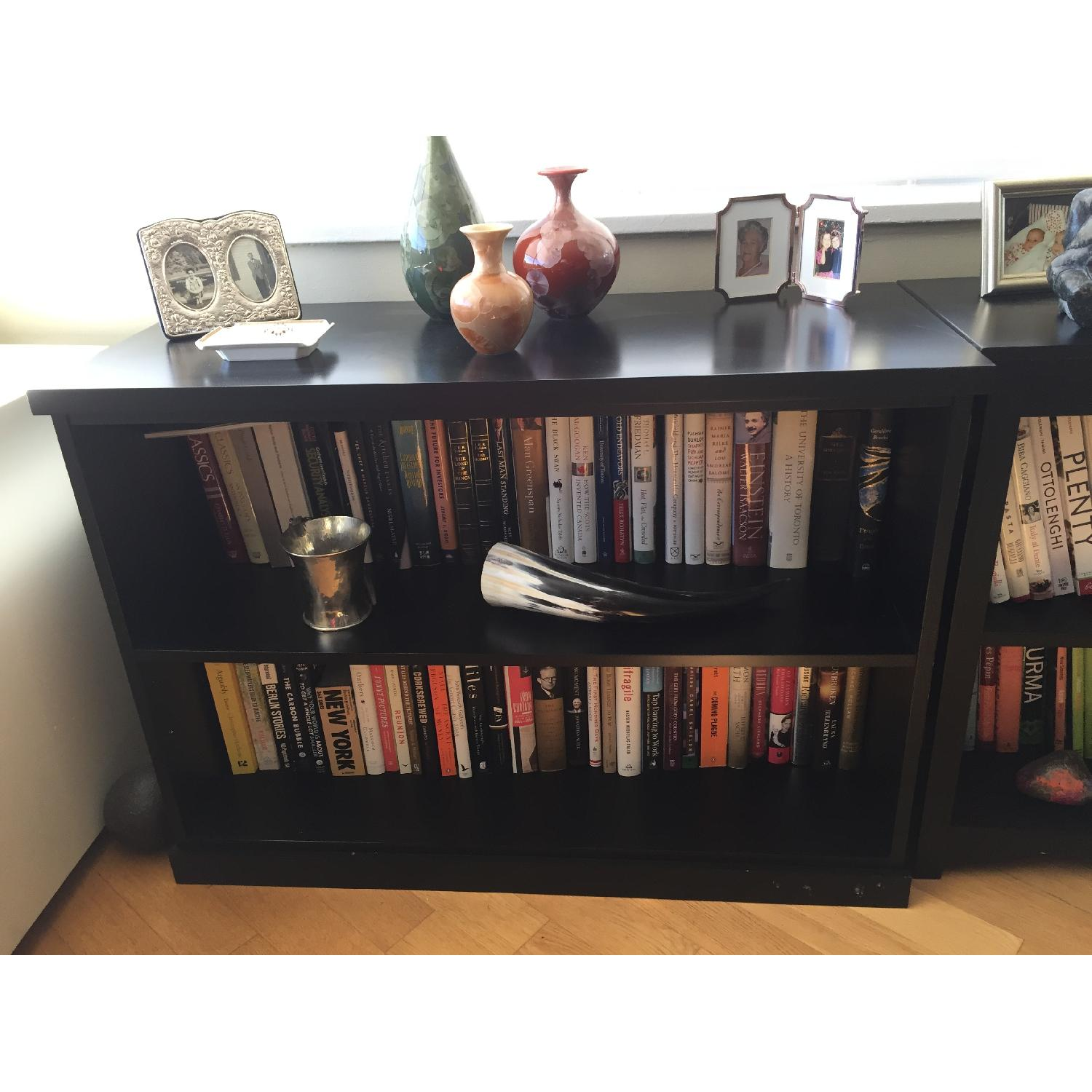 Pottery Barn Low Black Bookcase - image-2