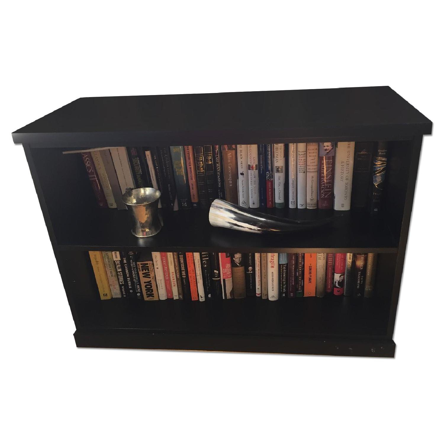 Pottery Barn Low Black Bookcase - image-0