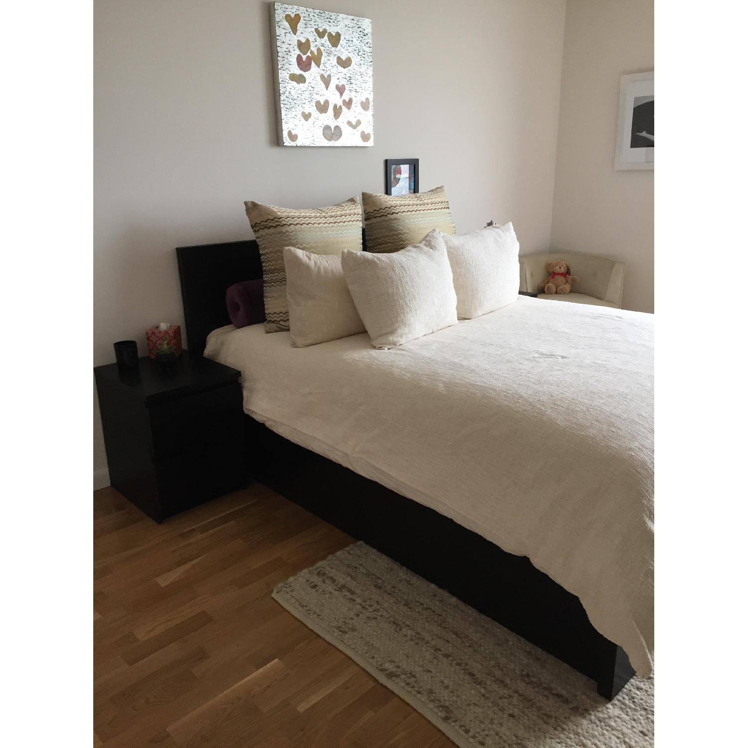 Ikea Malm Queen Size Storage Bed Frame + 2 Chests - image-4