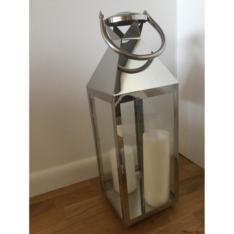 Richland Stainless Steel Revere Lanterns Medium & Large with 3 White Pillar Candles - image-1