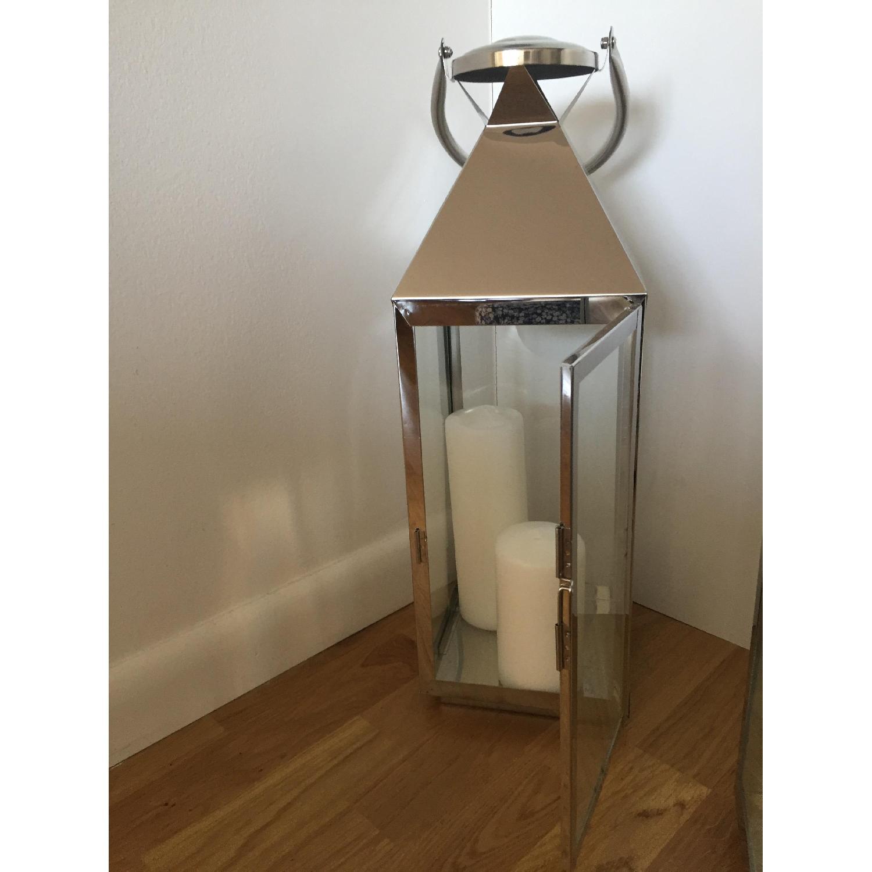 Richland Stainless Steel Revere Lanterns Medium & Large with 3 White Pillar Candles - image-4