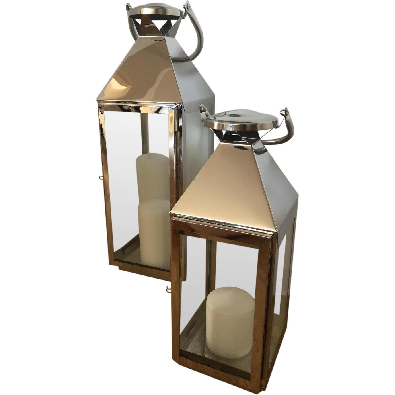Richland Stainless Steel Revere Lanterns Medium & Large with 3 White Pillar Candles - image-0
