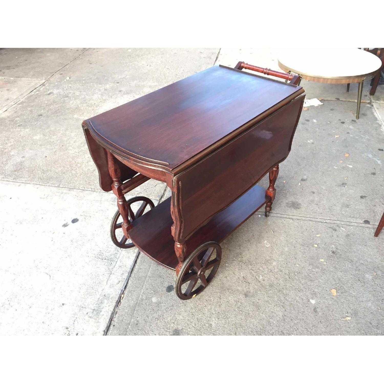 1930s Mahogany Bar Cart w/ Drop-Leaf Sides - image-2