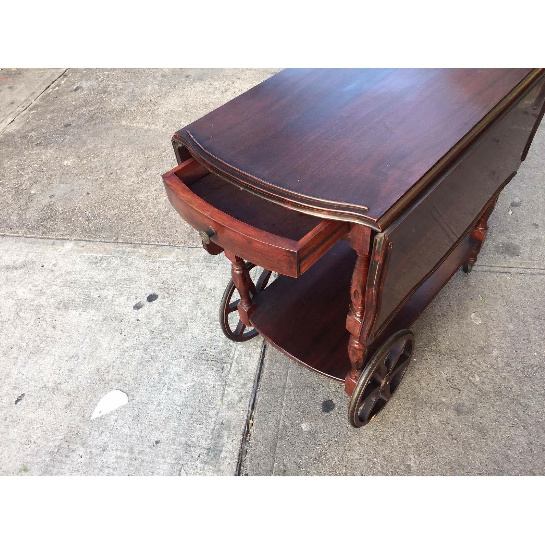 1930s Mahogany Bar Cart w/ Drop-Leaf Sides - image-3