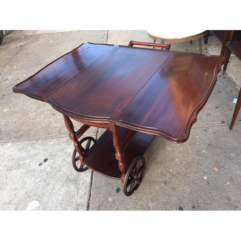 1930s Mahogany Bar Cart w/ Drop-Leaf Sides - image-4
