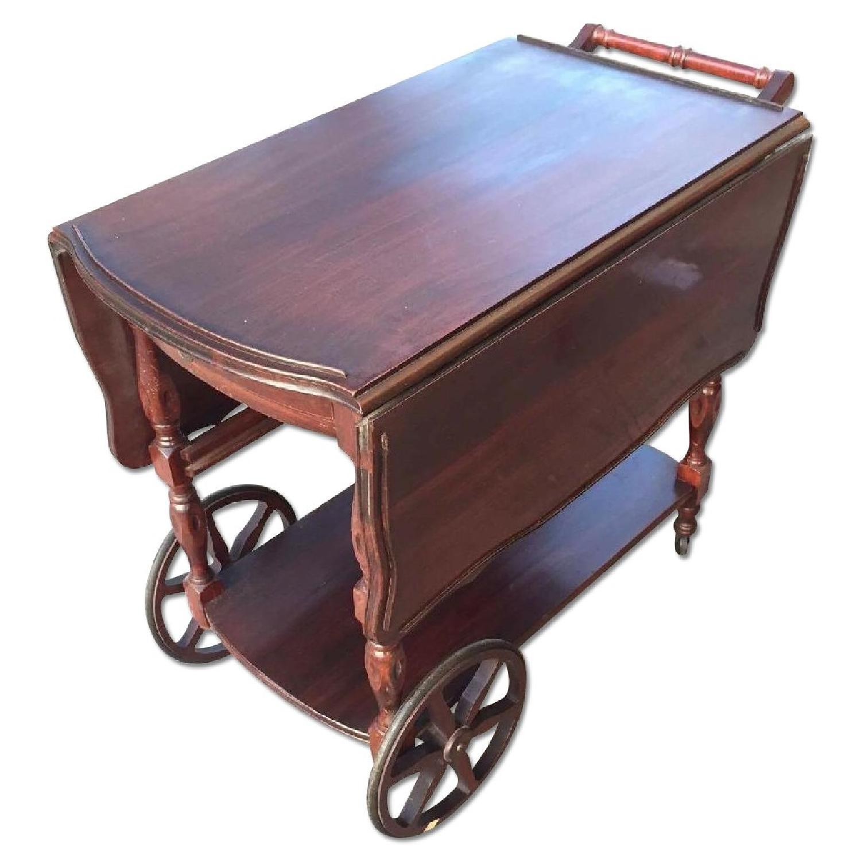 1930s Mahogany Bar Cart w/ Drop-Leaf Sides - image-0