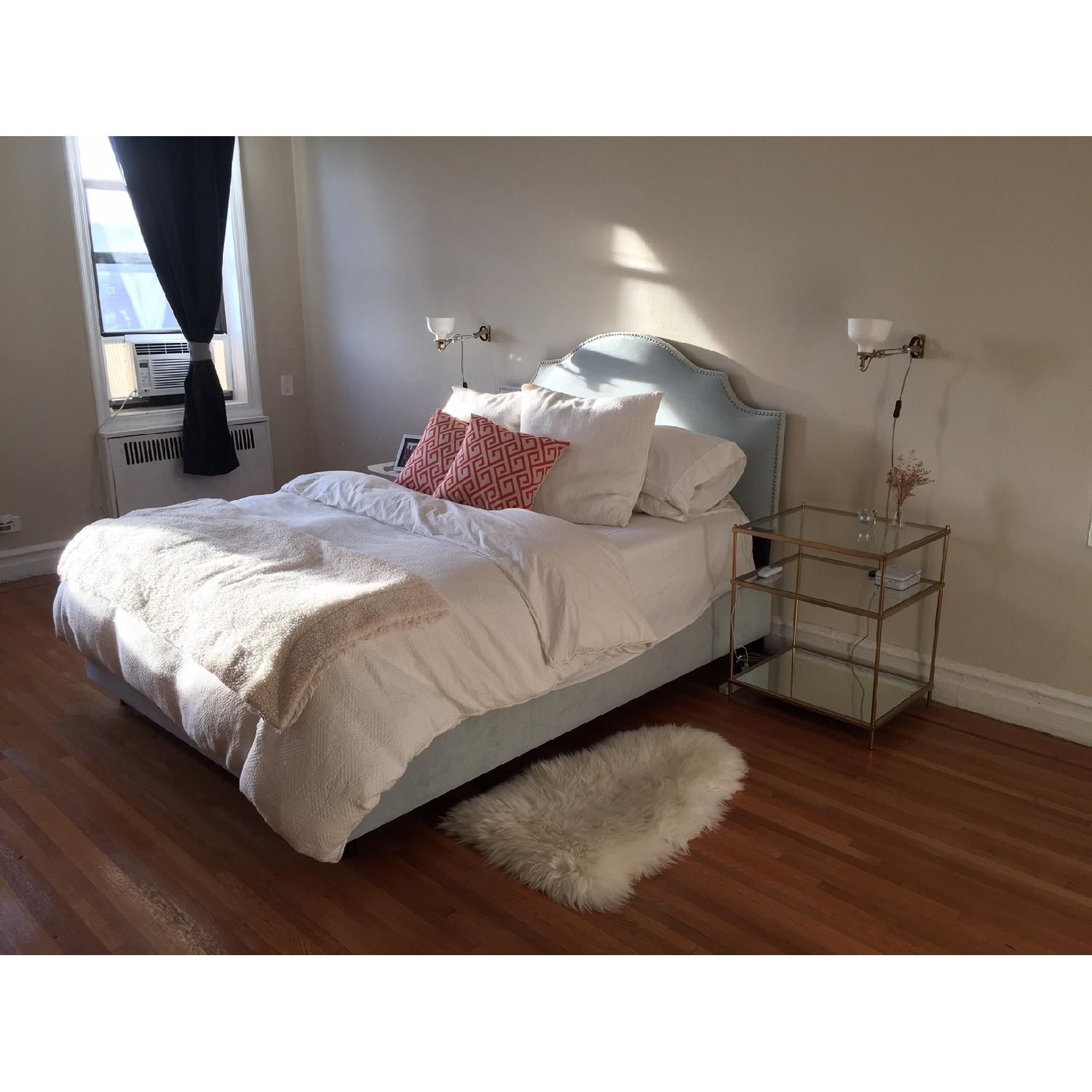 Skyline FurnitureVelvet Queen Nail Button Notched Bed Frame - image-3