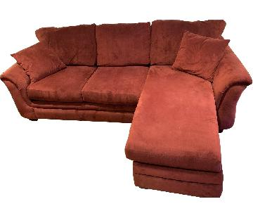 Raymour & Flanigan Red Reversible Sectional Sofa + Chair