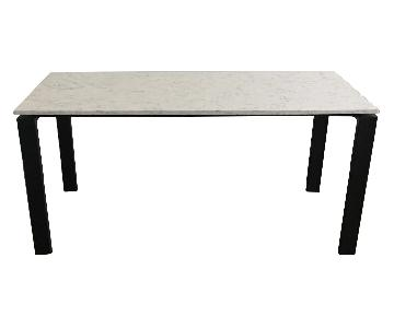 Room & Board Rand White Marble Table w/ Natural Steel Base