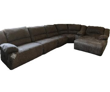 Ashley Reclining Suede 6-Piece Sectional Sofa w/ Chaise