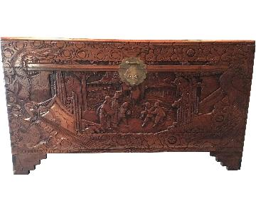 Vintage Asian Wood Carved Chest