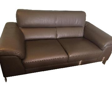 Macy's Chocolate Brown Leather Loveseat