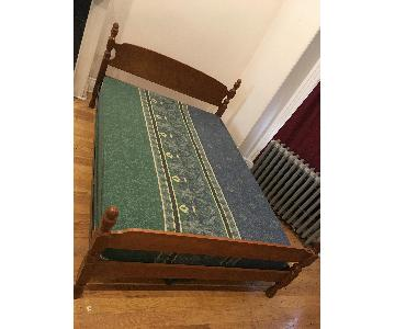 Vintage Oak/Metal Full-Bed Frame
