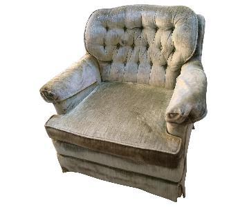 Antique Green Crushed Velvet Swivel Chairs