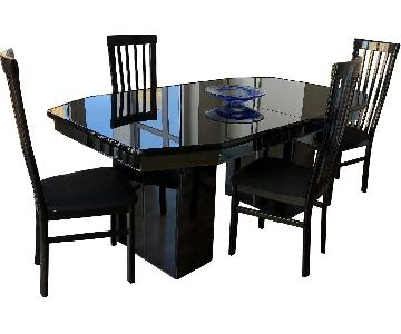 Black Glass Top Expandable Dining Table w/ 4 Chairs