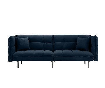 Modern Tufted Velvet Fabric Splitback Sleeper Sofa
