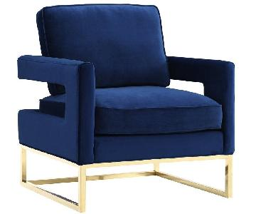 Willa Arlo Interiors Modern Blue Velvet Chair