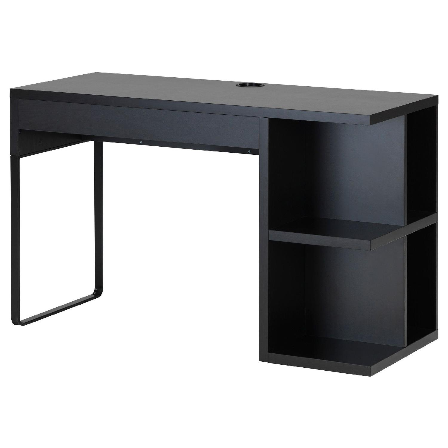 Ikea Micke Black Desk w/ Shelves