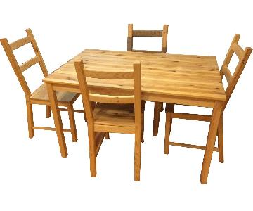 Ikea Ingo Natural Pinewood Dining Table w/ 3 Chairs