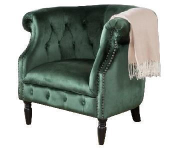 House of Hampton Lenita Green Velvet Chesterfield Chair