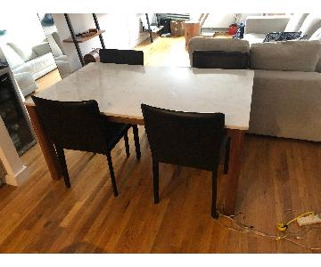 Room & Board Linden Table w/ 4 Leather Stools