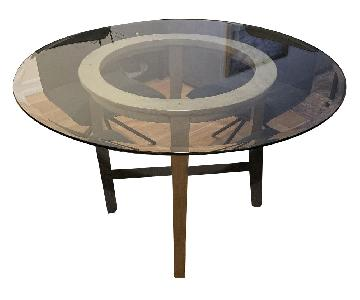 Crate & Barrel Glass Top Round Dining Table