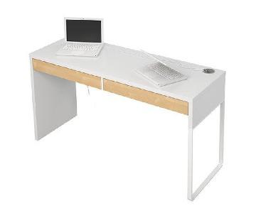Ikea Micke White Desk w/ Wood Panel Drawers