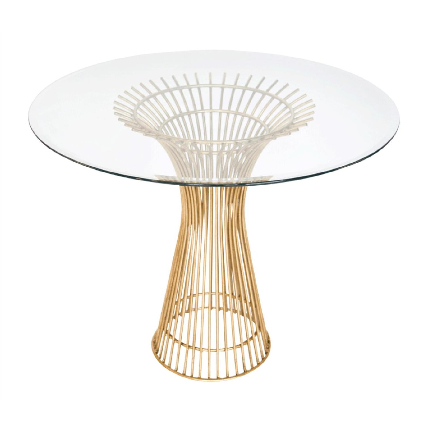 Mecox Gardens Gold Iron Spoke Table w/ Marble Top
