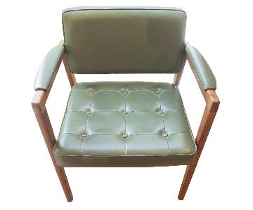 Vintage Swedish Green Leather Chair