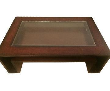 Macy's Wood/Glass Coffee Table