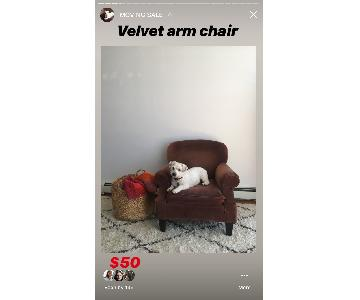 Crate & Barrel Maroon Velvet Armchair