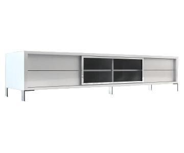 Modloft Modern White Lacquer Media Cabinet