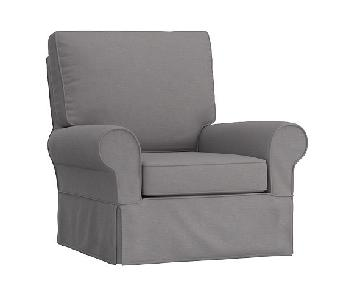 Pottery Barn Comfort Grand Swivel Rocker in Grey Fabric