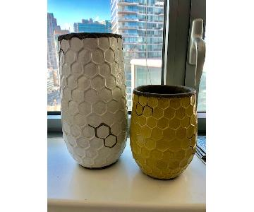 West Elm Hand Made White & Yellow Vases