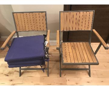 Crate & Barrel Alfresco Natural Folding Chairs