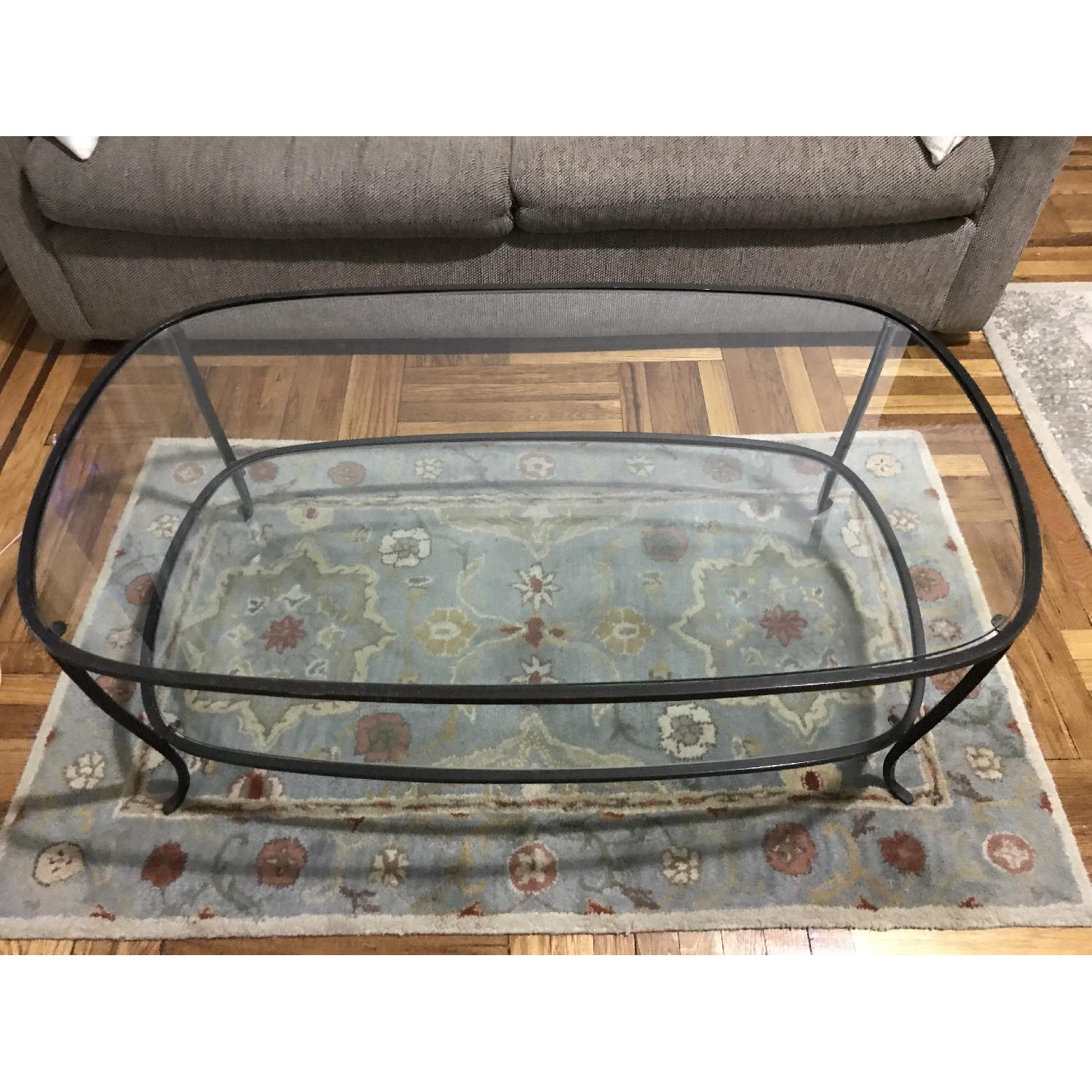 Pottery Barn Glass w/ Cast Iron Frame Coffee Table-0