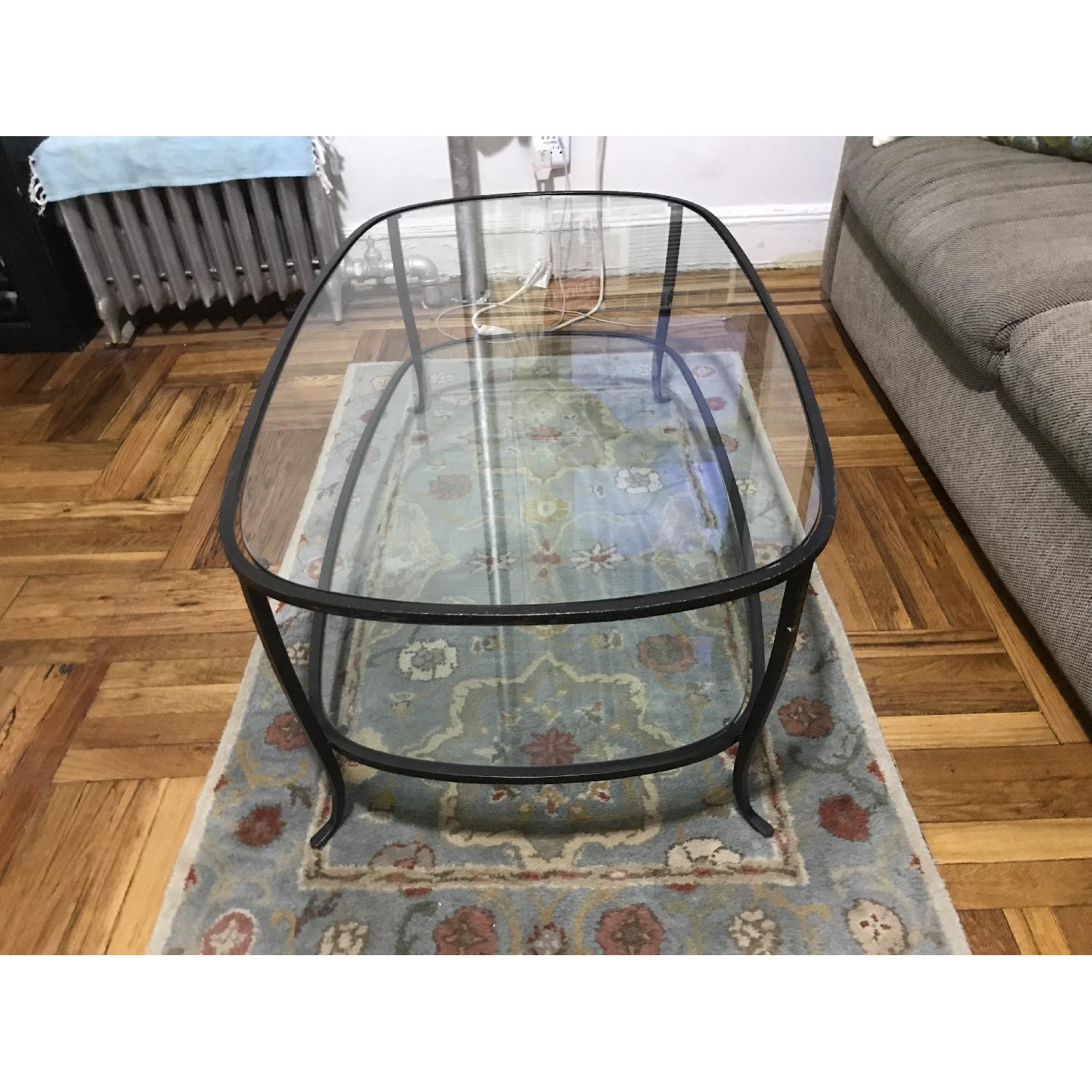 Pottery Barn Glass w/ Cast Iron Frame Coffee Table-1