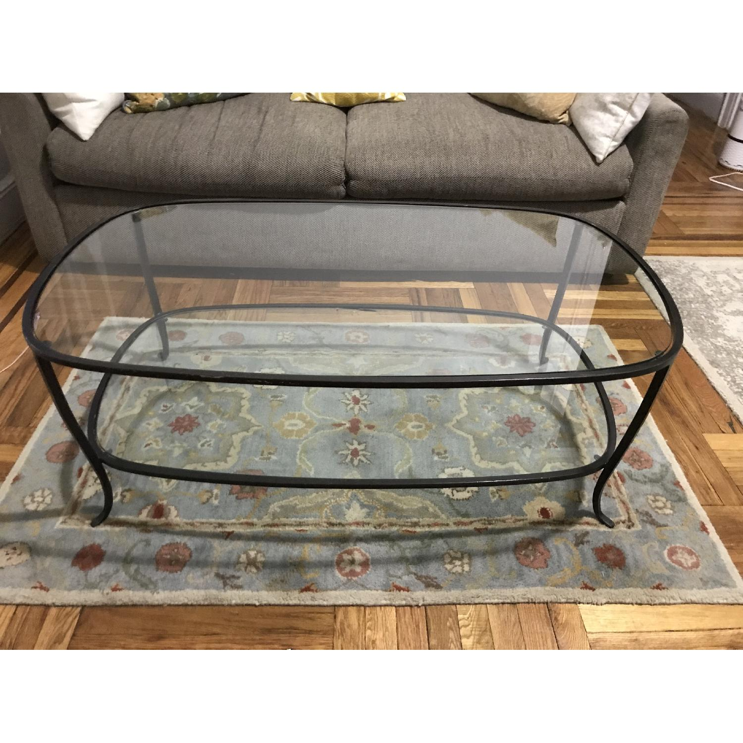 Pottery Barn Glass w/ Cast Iron Frame Coffee Table-2