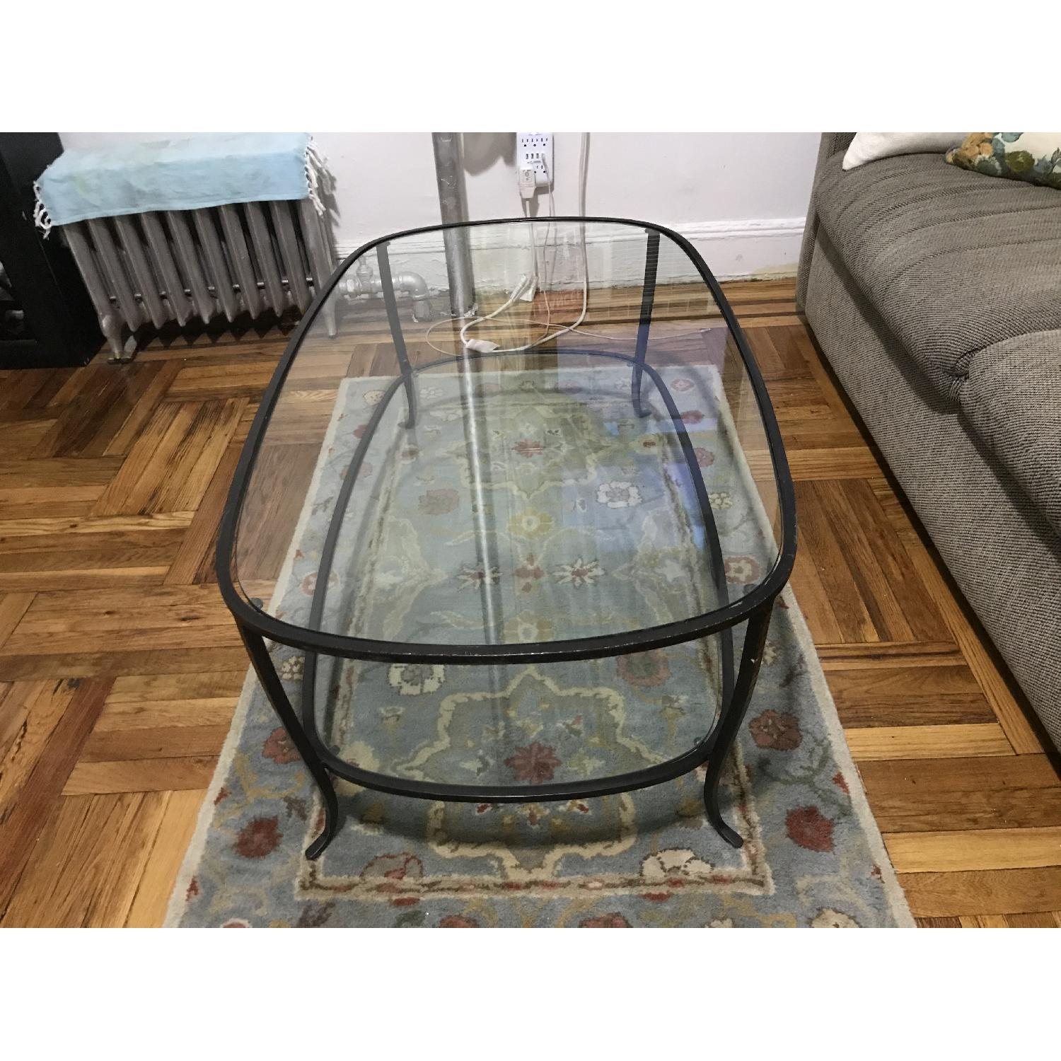 Pottery Barn Glass w/ Cast Iron Frame Coffee Table-3