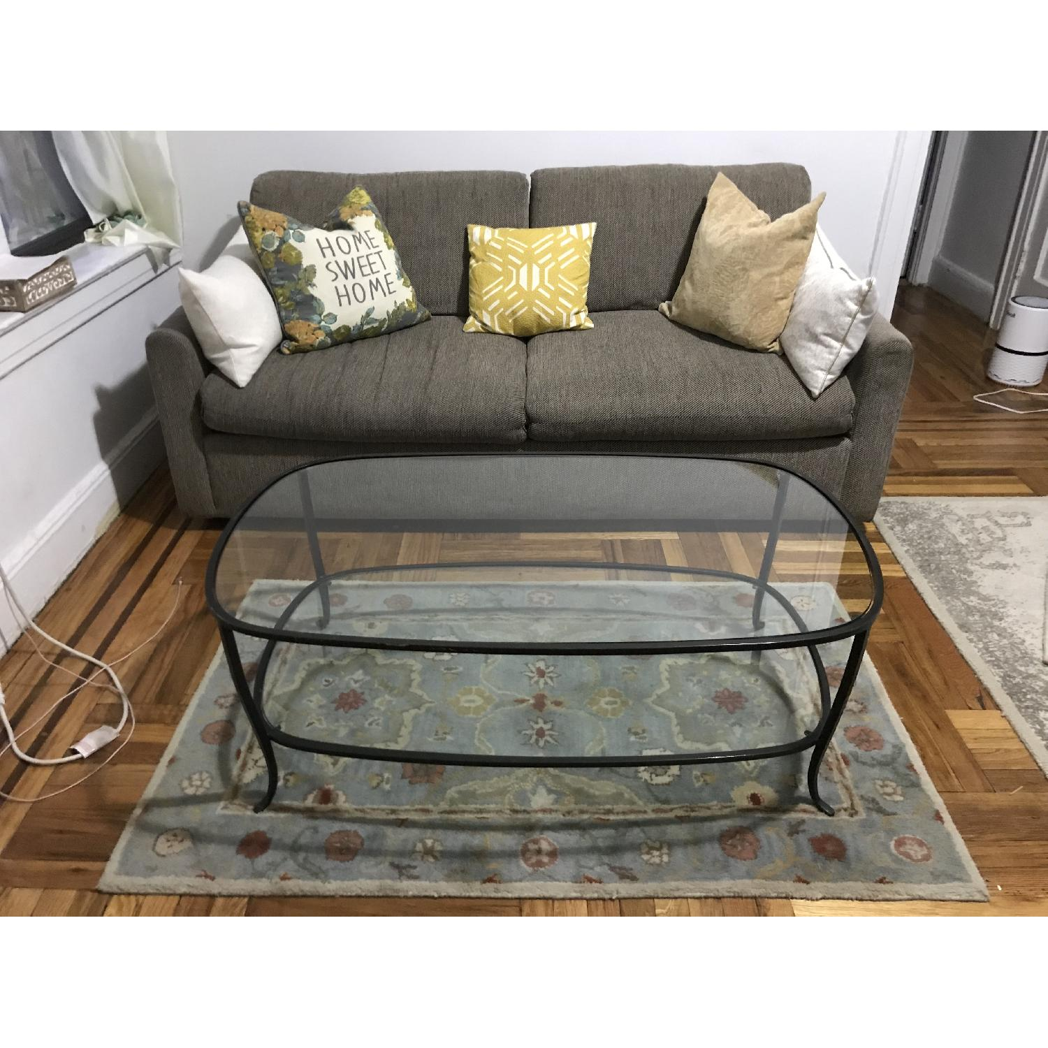 Pottery Barn Glass w/ Cast Iron Frame Coffee Table-4