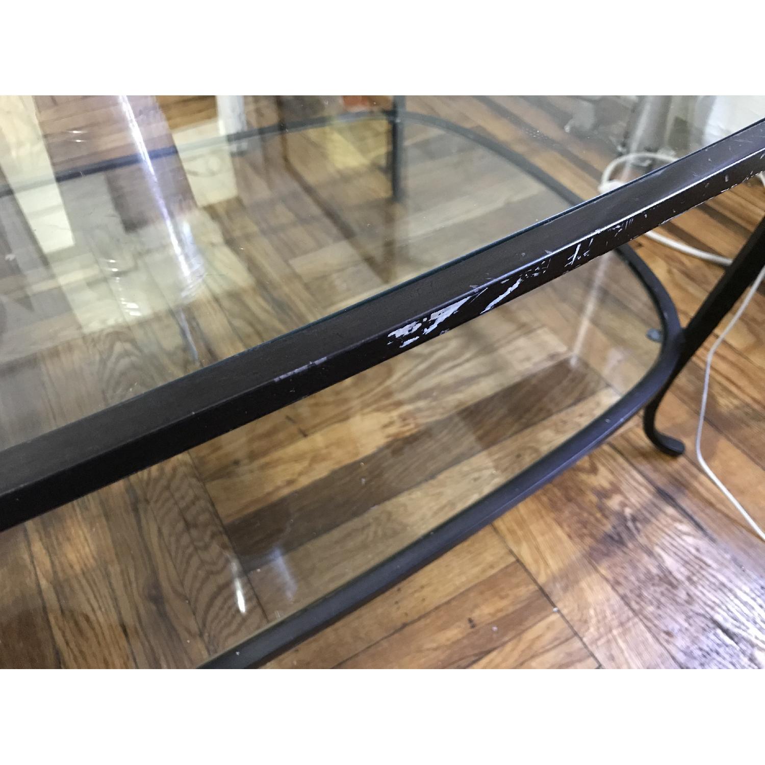 Pottery Barn Glass w/ Cast Iron Frame Coffee Table-5