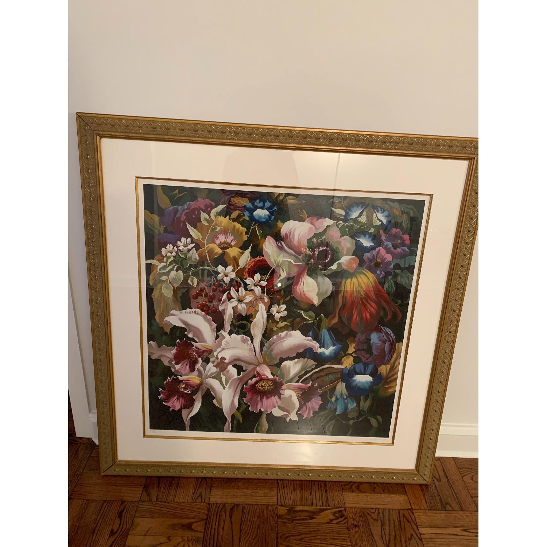Elizabeth Horning Floral Painting w/ Gold Frame-0