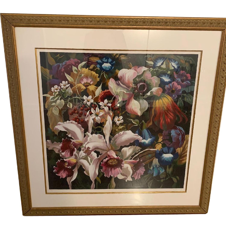 Elizabeth Horning Floral Painting w/ Gold Frame