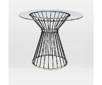 West Elm Hourglass Dining Table w/ Round Glass Top
